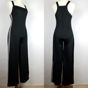 Vintage 90s Jumpsuit Overall Grunge Black Striped